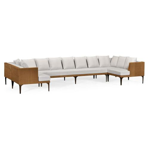 Tan Rattan Outdoor Sectional Sofa Set, Upholstered in COM