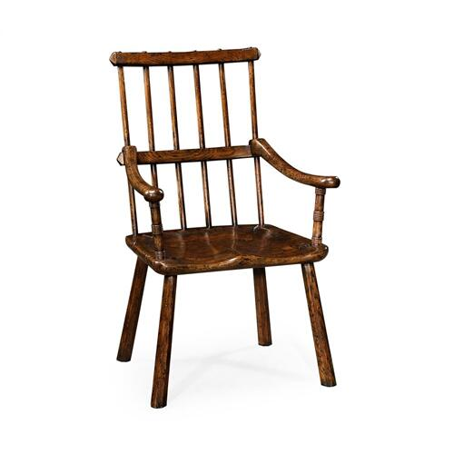 Rustic Dark Oak Country Arm Chair with A Plank Seat