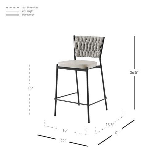 New Pacific Direct - Leander KD Fabric/ PU Counter Stool, Alpine Light Gray/ Fairfax Gray