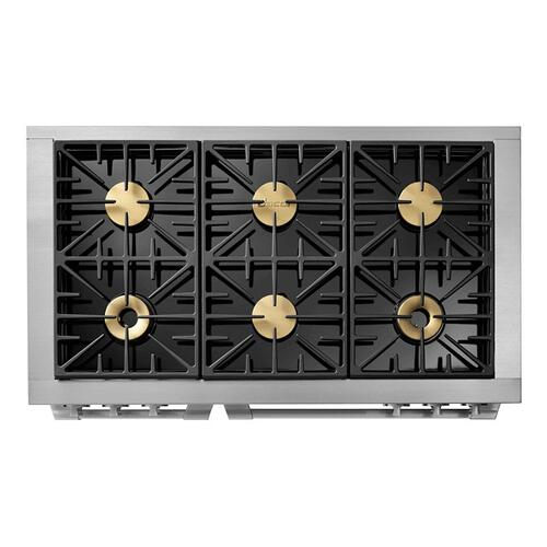 "48"" Gas Pro Range, Silver Stainless Steel, Natural Gas"