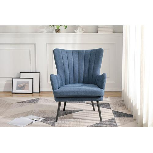 Jenson Accent Chair Wih Blue Fabric and Grey Legs
