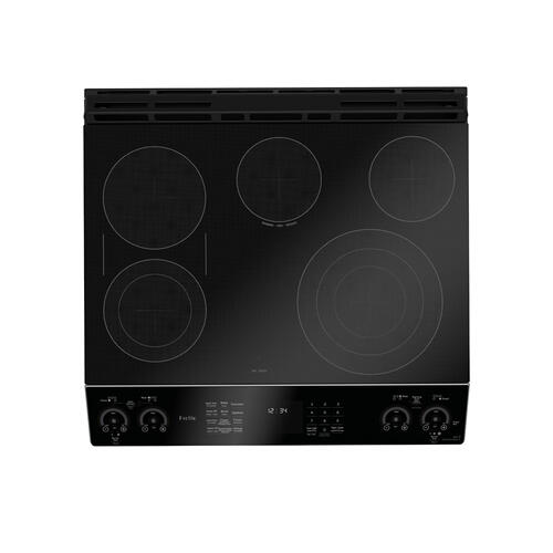 "GE Profile 30"" Electric Slide-In Front Control Double Oven Convection Range Stainless Steel - PCS980SMSS"