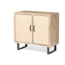 Bellefontaine 34L x 16W Natural Wood And Fabric 2 Door Accent Cabinet