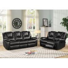 8084 BLACK 2PC Manual Recliner Air Leather Living Room SET