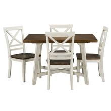 See Details - Amelia Dining Table and Four Chairs Set, Light Brown Top with Distressed White Base