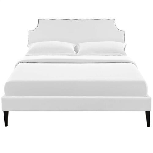 Corene King Vinyl Platform Bed with Squared Tapered Legs in White