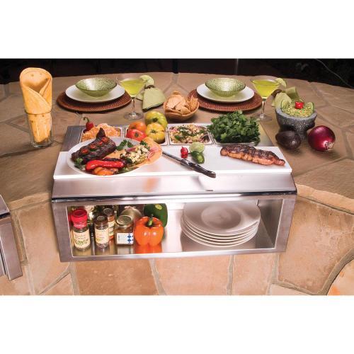 "Alfresco - 30"" PLATE & GARNISH RAIL W/ FOOD PANS"