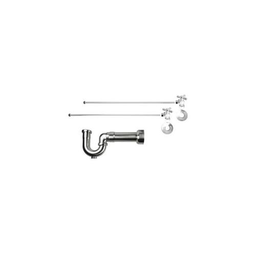 """Product Image - Lavatory Supply Kit w/ Massachusetts P-Trap - Angle - Mini Cross Handle - 1/2"""" Compression (5/8"""" O.D.) Inlet x 3/8"""" O.D. Compression Outlet - Satin Gold"""