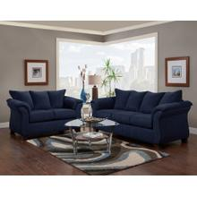 Aruca Navy Blue Microfiber Pillow Back Sofa and Loveseat Set