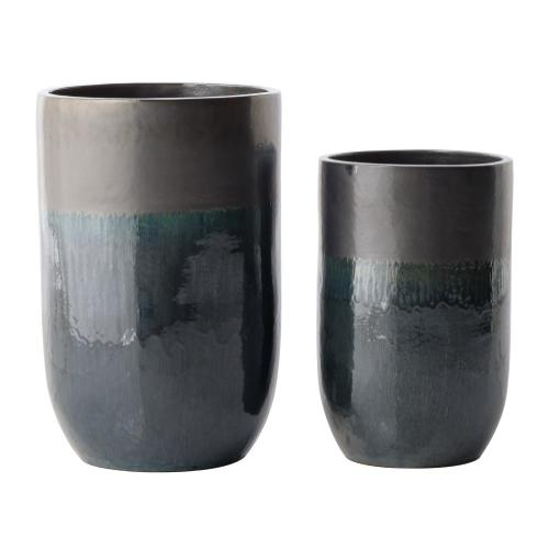 Solar Tall Round Planter - Set of 2
