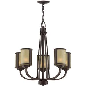5-lite Ceiling Lamp, Aged Bronze/glass Shade, E27 A 40wx5