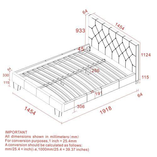 "Summit 54"" Double Platform Bed in Grey"