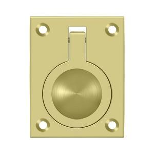 "Flush Ring Pull, 2-1/2"" x 1-7/8"" - Polished Brass"
