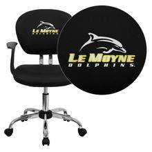 Le Moyne College Dolphins Embroidered Black Mesh Task Chair with Arms and Chrome Base