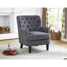 GREY ACCENT CHAIR WITH NAILHEAD