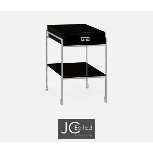 Silver iron end table with drawer