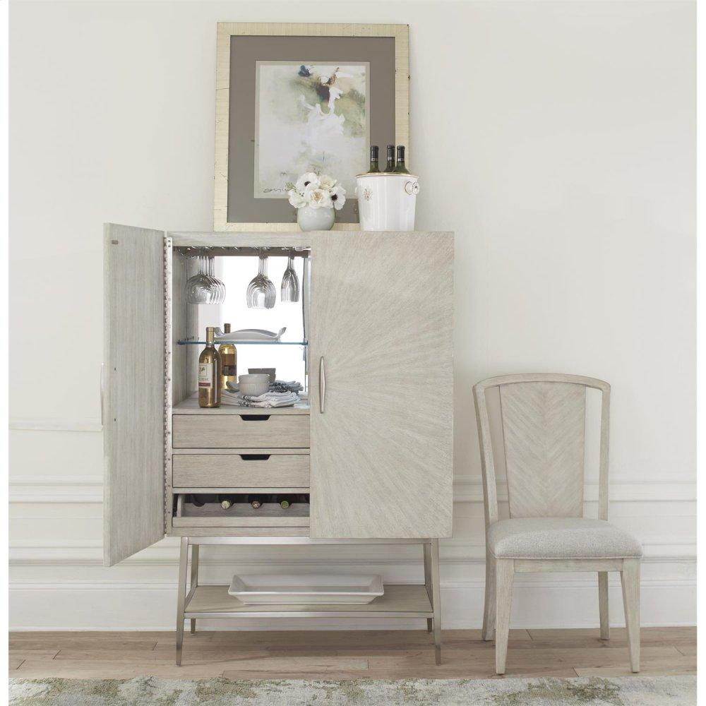 See Details - Lilly - Upholstered Splat Back Chair - Champagne Finish