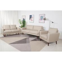 8127 3PC BEIGE Linen Stationary Basic Living Room SET