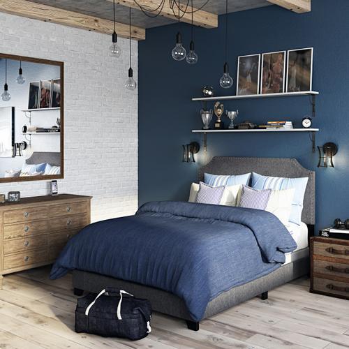 Clipped Corner Full Upholstered Bed in Stone Gray