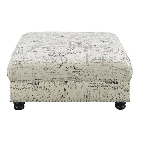 Emerald Home Hutton II Cocktail Ottoman Ivory Print U3164-03-29