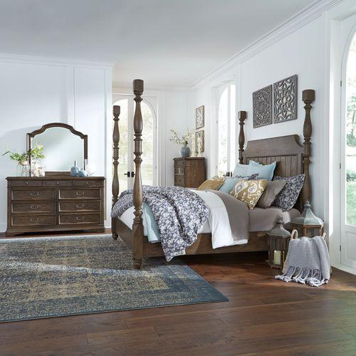 King California Poster Bed, Dresser & Mirror, Chest