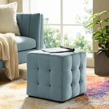 Contour Tufted Button Cube Performance Velvet Ottoman in Light Blue