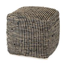 See Details - Aalia 16.0L x 16.0W x 16.0H Charcoal Leather and Jute Pouf