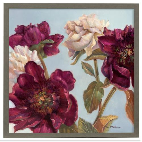 Style Craft - Peony  Made in USA  Artist Print  Faux Wood Frame Under Glass  Attached Hanging Hardware