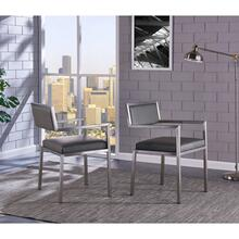 View Product - Armen Living Dylan Contemporary Dining Chair Brushed Stainless Steel and Vintage Gray Faux Leather - Set of 2