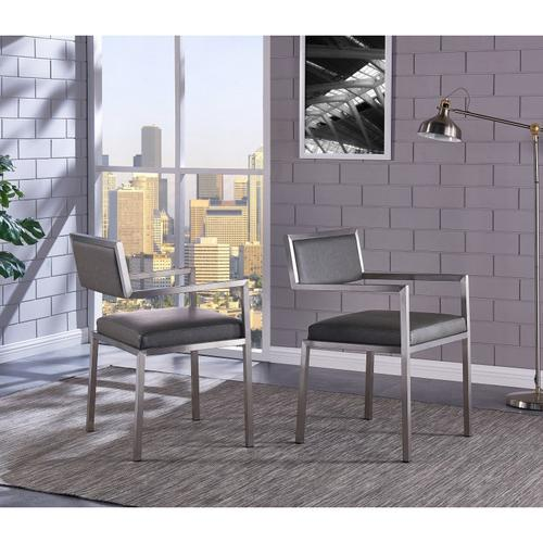 Armen Living Dylan Contemporary Dining Chair Brushed Stainless Steel and Vintage Gray Faux Leather - Set of 2