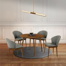 """See Details - Arcadia and Juno 42"""" Round Charcoal and Walnut Wood 5 Piece Dining Set"""