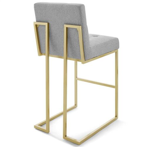 Privy Gold Stainless Steel Upholstered Fabric Bar Stool in Gold Light Gray