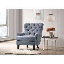 Button Tufted Accent Chair, Blue Fabric
