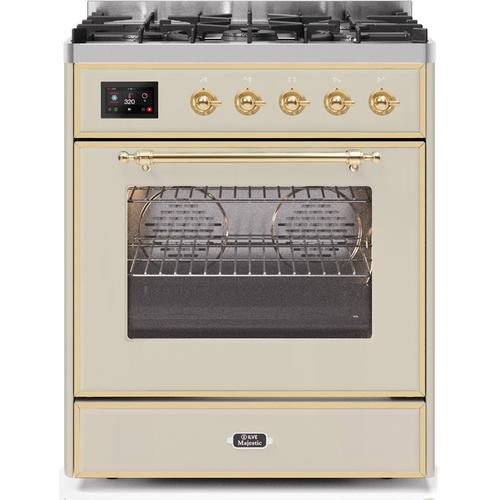30 Inch Antique White Dual Fuel Natural Gas Freestanding Range