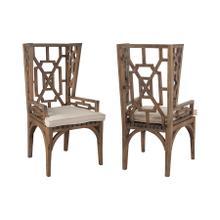 Teak Wingback Chair Cushion in Cream