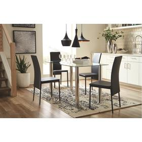 Sariden Table & 4 Chairs Chrome/Black