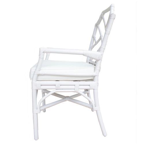 Kara Rattan Dining Side Arm Chair, White