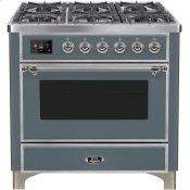 Majestic II 36 Inch Dual Fuel Natural Gas Freestanding Range in Blue Grey with Chrome Trim