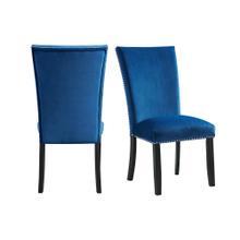 Product Image - Francesca Blue Velvet Side Chair Set
