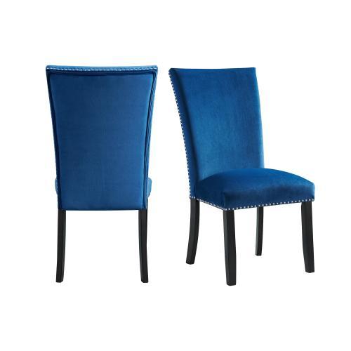 Francesca Blue Velvet Side Chair Set