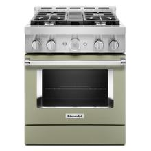 KitchenAid® 30'' Smart Commercial-Style Gas Range with 4 Burners - Matte Avocado Cream