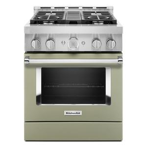 KitchenAid® 30'' Smart Commercial-Style Gas Range with 4 Burners - Avocado Cream Product Image