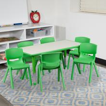 See Details - 23.625''W x 47.25''L Rectangular Green Plastic Height Adjustable Activity Table Set with 6 Chairs