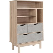 """Product Image - St. Regis Collection Contemporary 4 Shelf 49""""H Bookcase and Storage Cabinet in Oak Wood Grain Finish with Gray Drawers"""