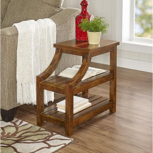 2 Open Shelves Side Table, Brown