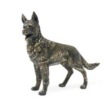 German Shepherd dog in antique dark bronze