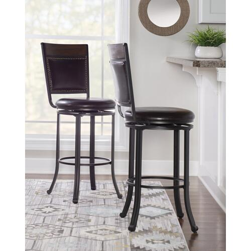 Upholstered Faux Leather Swivel Barstool, Rustic Umber and Dark Brown