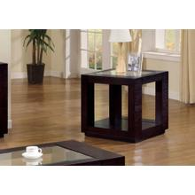 ACCENT TABLE - ESPRESSO VENEER WITH GLASS INSERT