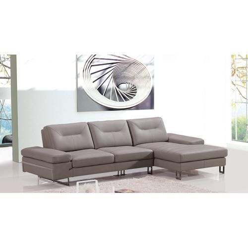 Divani Casa Camino Modern Taupe Leather Sectional Sofa