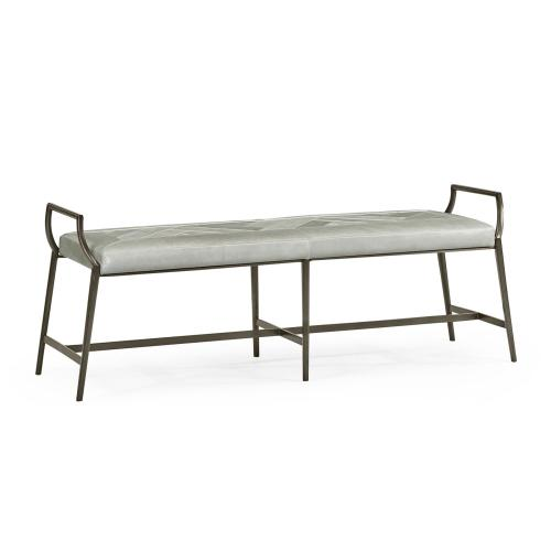 Modern Curved Bronzed Bench, Upholstered in Grey Leather